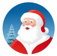 Weihnachtsmann vor Lichterbaum