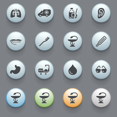 Medicine icons with color buttons on gray background. Set 1.