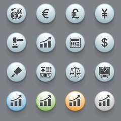 Finance icons with color buttons on gray background. Set 2.