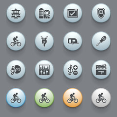 Icons for web with color buttons on gray background. Set 4.