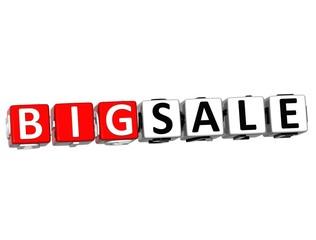 3D Big Sale Button Click Here Block Text