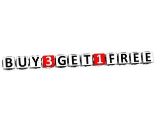 3D Buy Three Get One Free Button Click Here Block Text
