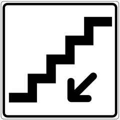 Fototapete - Schild weiß - Treppe nach unten