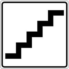 Fototapete - Schild weiß - Treppe