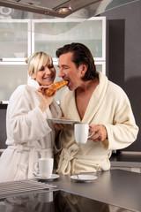 couple takes breakfast
