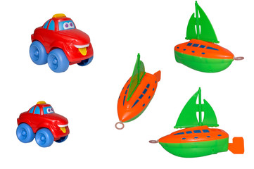 Set of toys, the yacht and cheerful taxi.