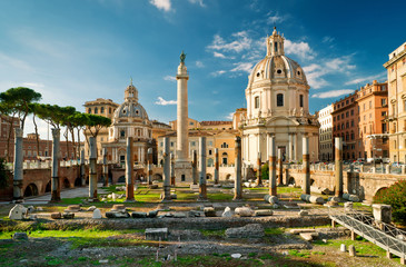 Printed roller blinds Ruins Trajan's Column in the forum of Trajan in Rome, Italy