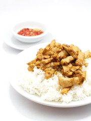 Fried chicken with garlic and pepper , Thai food