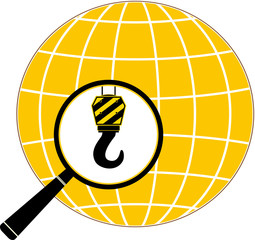icon with construction hook, magnifier and planet silhouette