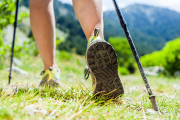 Nordic walking legs in mountains Wall mural
