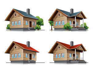 Cottage houses cartoon icons