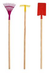 Gardening tools for children on white background