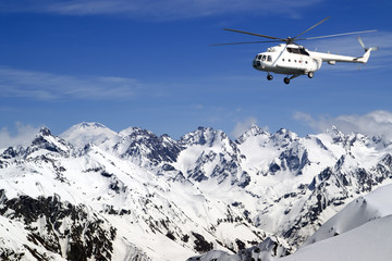 Poster Helicopter Heliski in high mountains