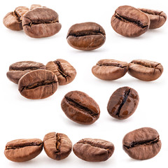 Deurstickers Koffiebonen Collection of Coffee beans isolated on white background, closeup