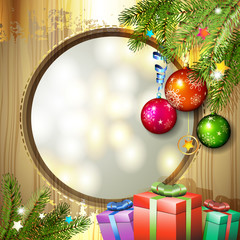 Wood background with Christmas balls and gifts