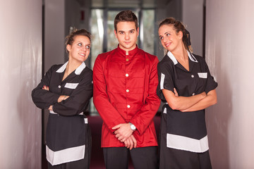 Bellboy with Two Beautiful Chambermaids