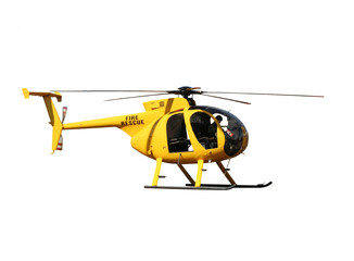 Foto op Canvas Helicopter Generic yellow helicopter for fire/rescue, isolated.