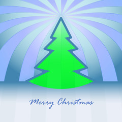 green christmas tree shape and striped background vector card