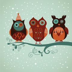 Three cute vector owls