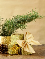 green fir branches and christmas decorations