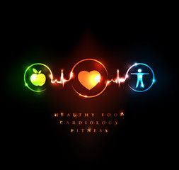 Wellness. Healthy food and fitness leads to healthy heart