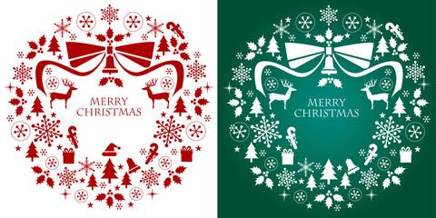 クリスマス リース デザイン シルエット