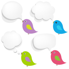 White Paper Speech Bubble And Birds