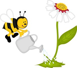 Bee watering flower