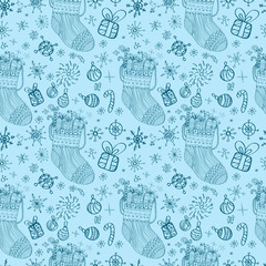 Seamless doodle background with socks
