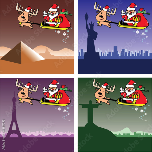 Christmas cards santa and deer in egypt usa france brazil stock christmas cards santa and deer in egypt usa france brazil m4hsunfo