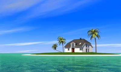 Haus auf eisamer Insel