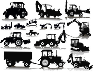 Set of 15 (fifteen) silhouettes of a tractors of road service