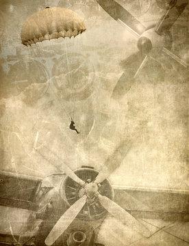 Grunge military background, retro aviation