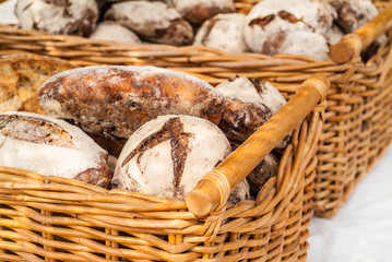 Fresh baked bread in baskets
