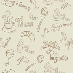 French Doodles Seamless Pattern