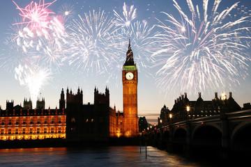 Fototapete - Fireworks over Big Ben