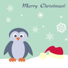 Weihnachtlicher Gruß mit Pinguin