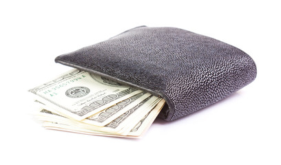Wallet with money dollar on a white background