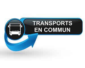 Fototapete - transports en commun sur bouton web design bleu