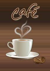 Kaffeetasse mit Herz Kaffebohne