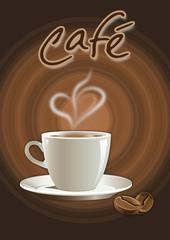 Kaffeepause - Logo mit Tasse und Bohnen