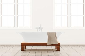 Bathroom with retangle windows