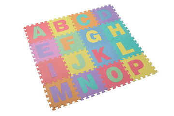 toy puzzle in textured foam for  learning english alphabet