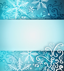 Beautiful snowflake Christmas background with ribbon and copyspa