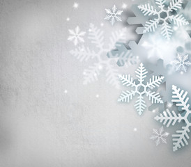 Beautiful snowflake Christmas old paper background with copyspa
