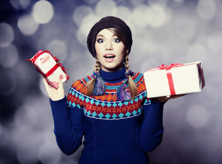 Style girl with gifts.
