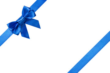 Blue ribbons with bow with tails