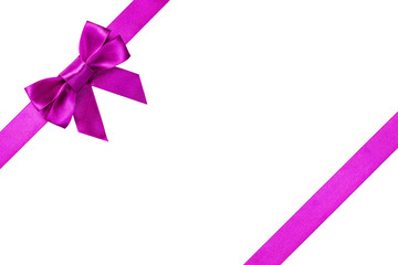 Purple ribbons with bow with tails
