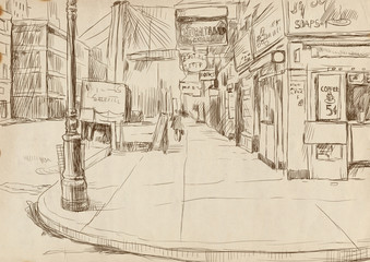 lonely american street - hand drawing