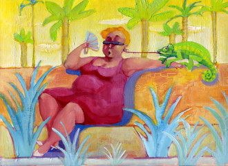 chameleon surreal painting portrait of a woman in summer light